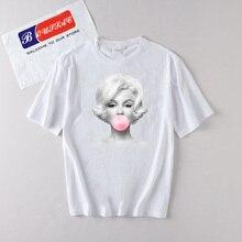 Bubble Gum Print T shirt women New Cotton Trendy Funny Printed Vintage Streetwear Aesthetics White T-shirt Tops Tee Tumblr Women