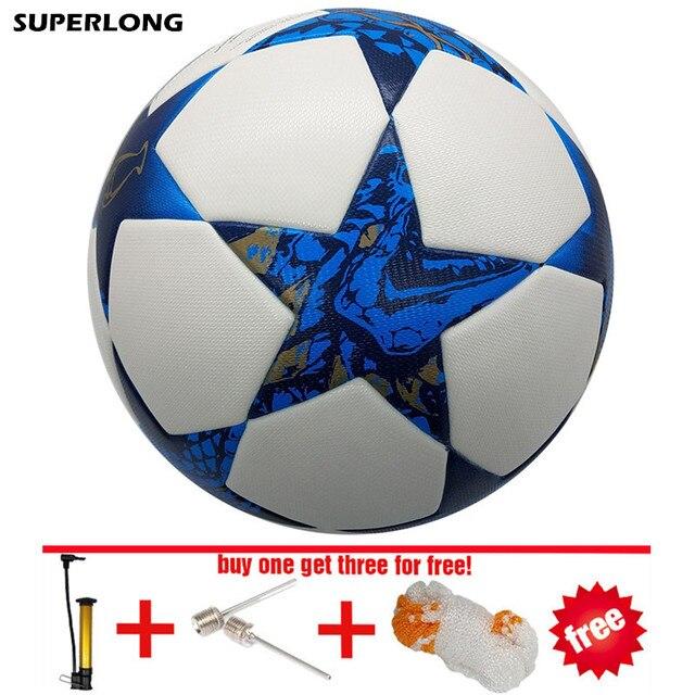 superlong 2017 size 5 Football ball Material PU durable soccer ball Professional Match Training futbol free inflator