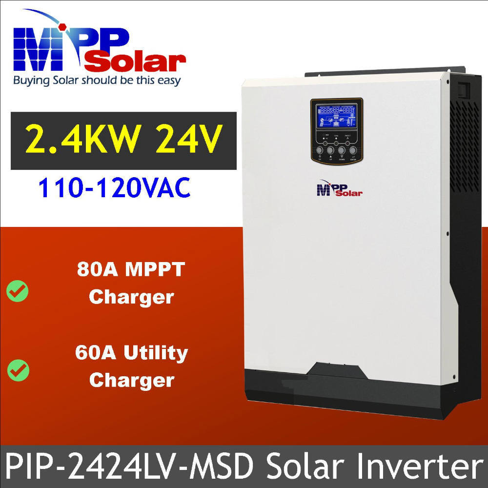 MSD 110vac 3kva 2400w Solar Hybrid inverter 80A mppt solar charger battery charger 60A pure