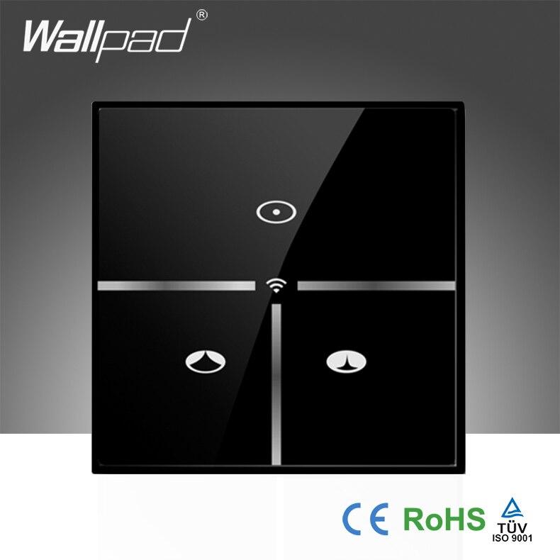 Offre spéciale Wallpad verre noir 110 ~ 250 V EU sans fil Wifi Smart télécommande fenêtre rideau contrôle WIFI interrupteur mural, livraison gratuite
