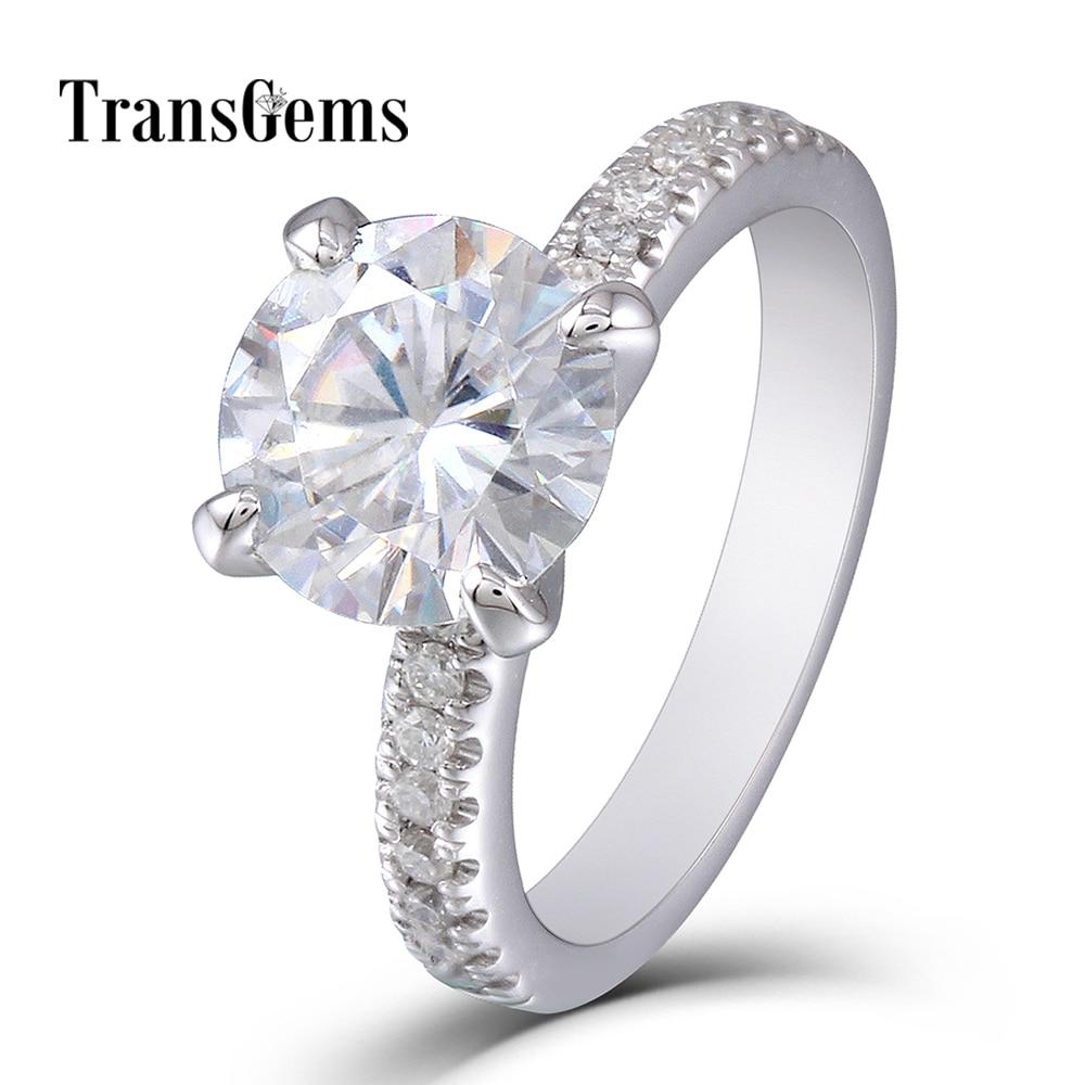 2ct Moissanite Gold Ring 2 Carat 8mm Moissanite Diamond 14K 585 White Gold Engagement Wedding Ring with Accents for Women цены онлайн