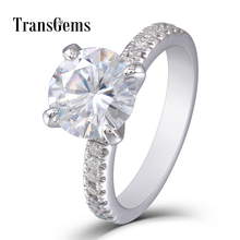 Transgems 2ct Moissanite Gold Ring 2 Carat 8mm Diamond 14K 585 White Engagement Wedding for Women