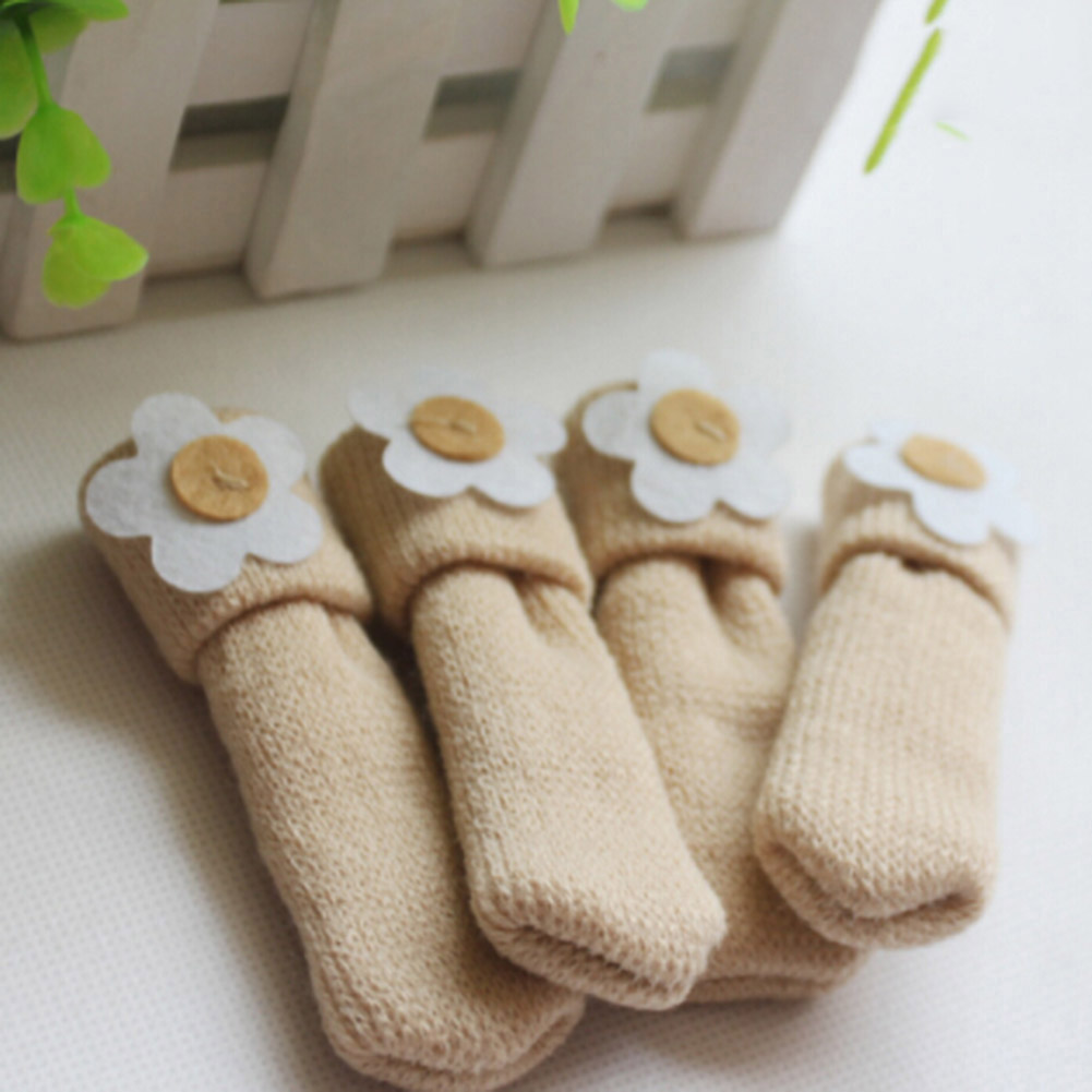 4 pcs /lot Japaneseversion of the soft chair knitting booties table mats and chairs shackle legs protective sleeve