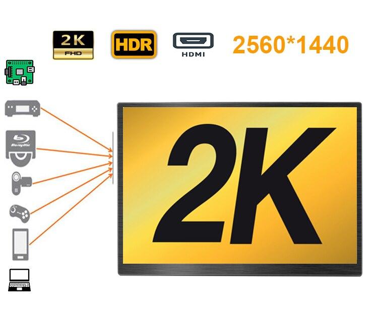 Moniteur LCD 13.3 pouces 2K 2560*1440 idéal pour Xbox, station PS, console de jeu de commutation (type-c, HDMI * 2, écouteurs, DC in)