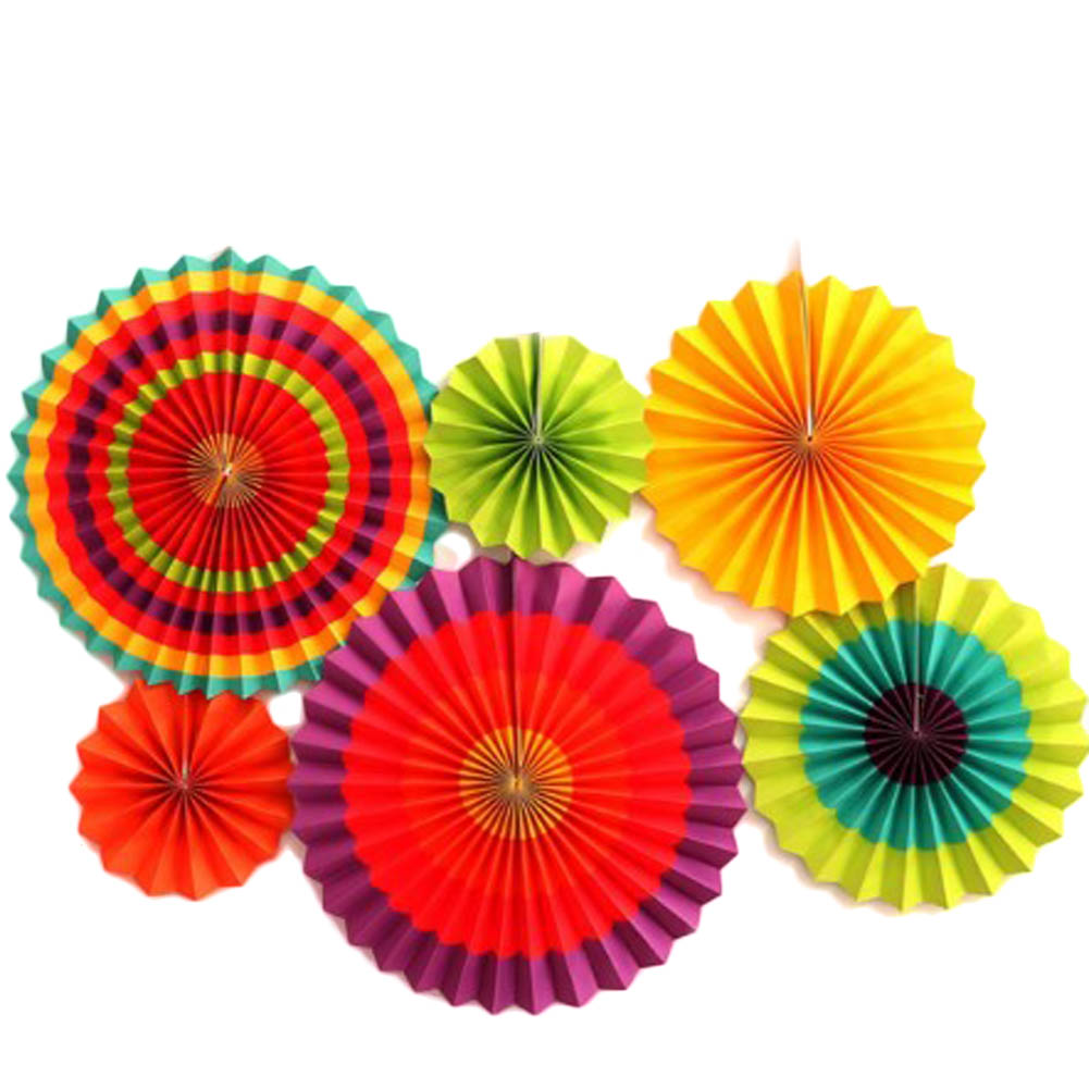 Pleated Paper Fans Kit Printed Waves Pinweels for Party Decoration Birthday Shower Home Festival Wedding Hanging Decor 6Pcs