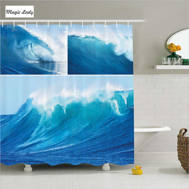 Shower Curtain Ocean Bathroom Accessories Collage Sea Wave Diving Surfing Leisure Marine Blue White 180