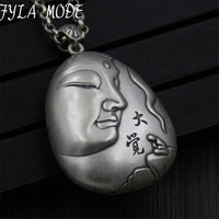 FYLA MODE S999 Sterling Silver Pendant Guanyin Bodhisattva Head Pendant For Security And Peace Pendant 63*42MM 18.50G XJF092