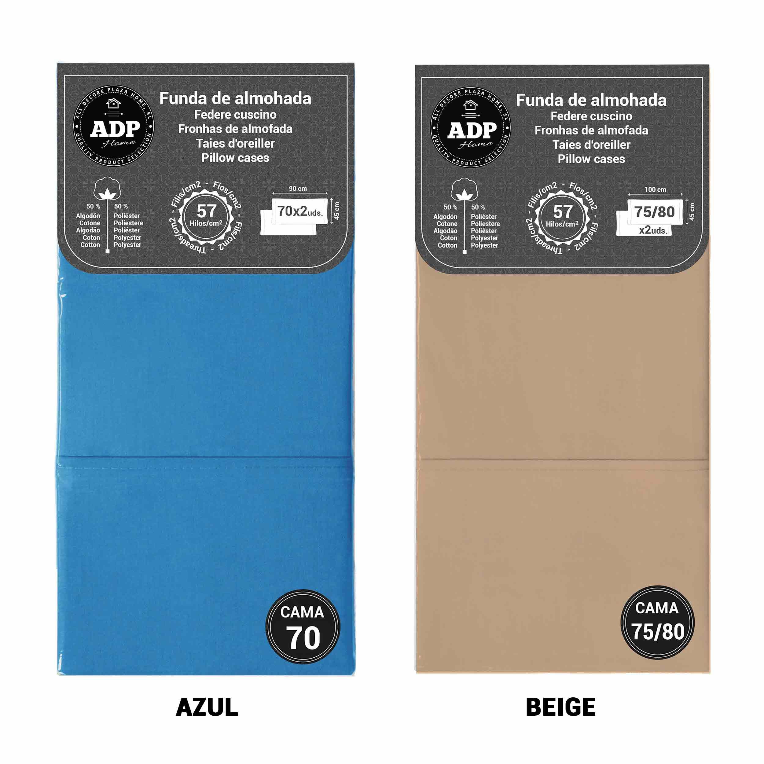 ADP Home - Pillowcase Dyed, 144 Threads (Pack 2 Und. 70 Cm, 75/80 Cm, 90 Cm; 1 Und. 105 Cm, 135 Cm, 150 Cm)