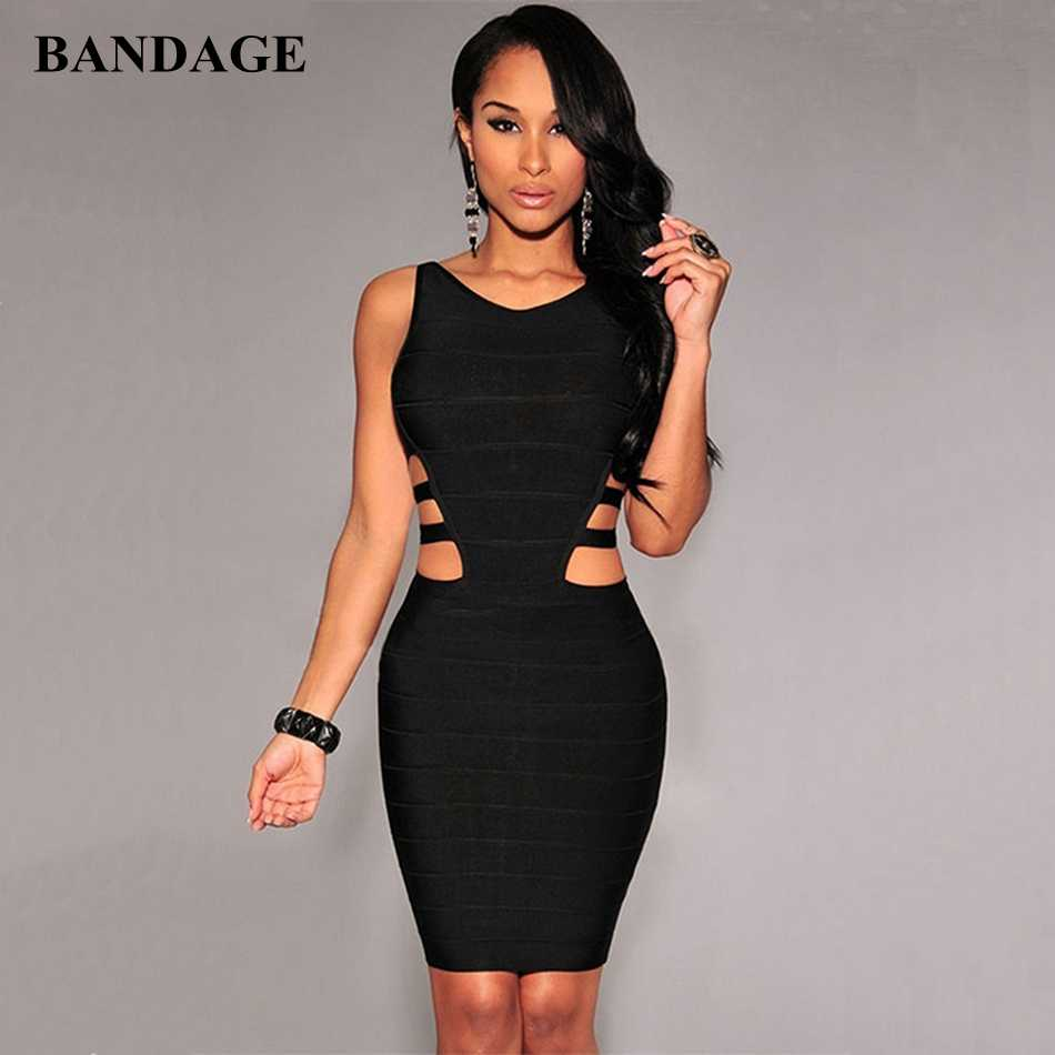Black Hollow Out Bandage Jurk Vrouwen Zomer Boutiues Mouwloze Jurken Celebrity Party Club Wear Bodycon Vestido