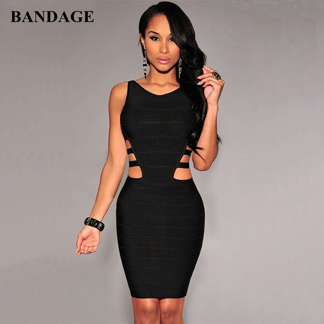 Black Hollow Out Bandage Dress Women Summer Boutiues Sleeveless Dresses Celebrity Party Club Wear Bodycon Vestido
