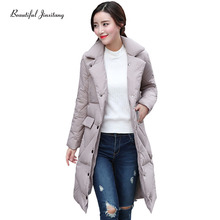 2017 Autumn Winter Slim long Cotton Clothing Women Coat Korean Version New Jacket Fashion Was Thin casaco feminino Parka W5A4