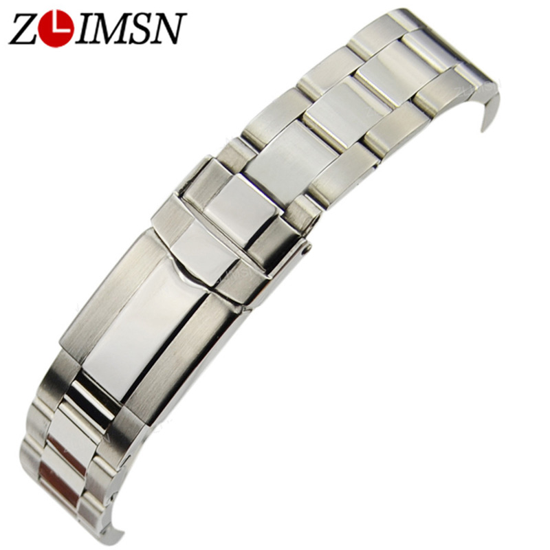 ZLIMSN 17 20mm Silver Solid Stainless Steel Watch Strap Hide Safety Deployment Clasp Bracelets Curved End Watchband Replacement stainless steel cuticle removal shovel tool silver