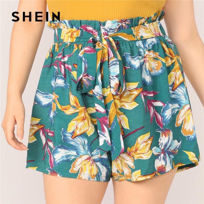 SHEIN Plus Size Green Paperbag Waist Belted Floral Belted Shorts 2019 Women Summer Beach Boho Wide Leg Loose Vacation Shorts