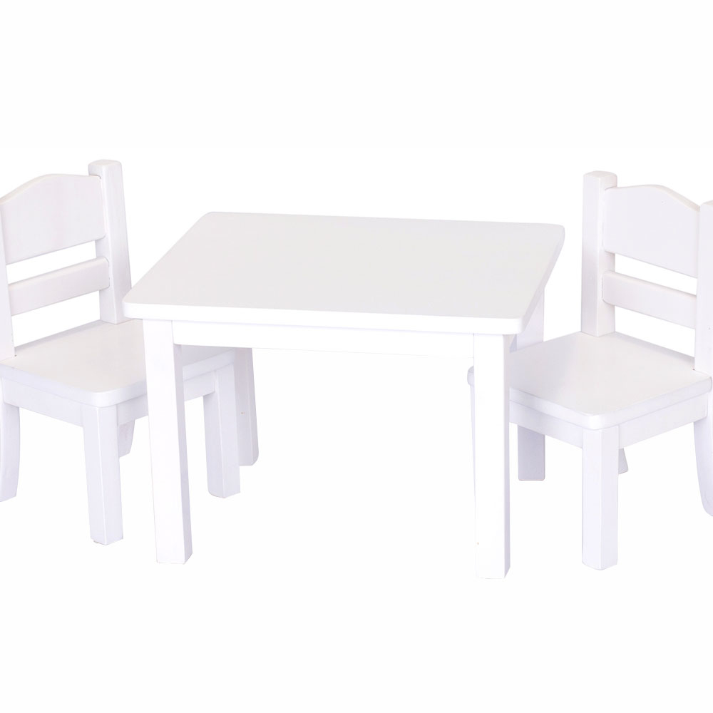 GuideCraft Doll Table and Chair Set - White guidecraft dress up cubby center white