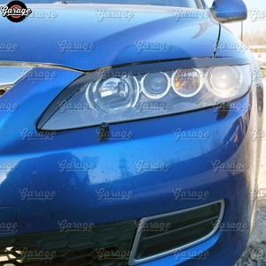 Image 2 - جفون للمصابيح الأمامية لمازدا 6 2002 2007 ABS البلاستيك وسادات أهداب الحاجبين يغطي اكسسوارات السيارات التصميم ضبط