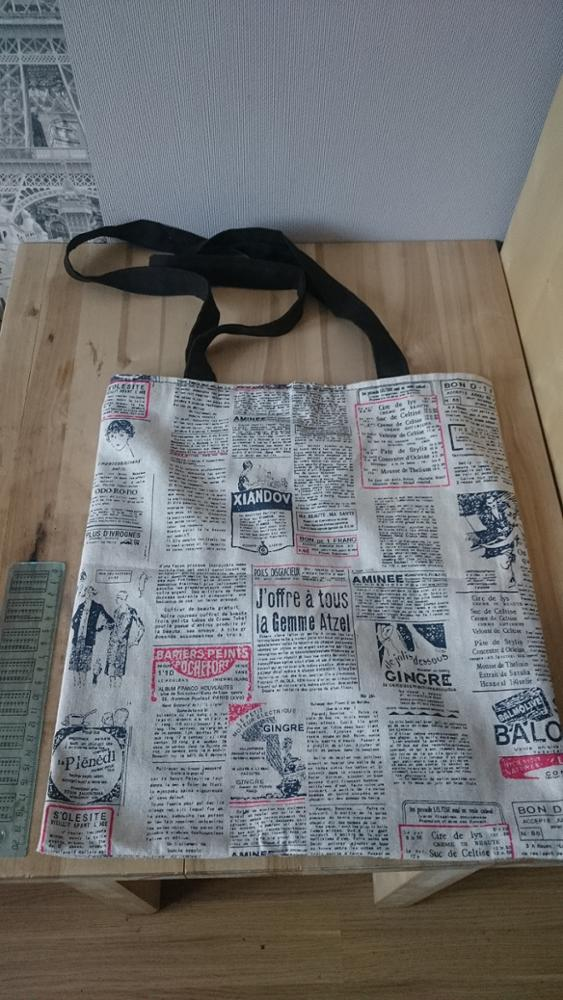 YILE Cotton Linen Eco Market Shopping Tote Shoulder Bag Print Illustration Newspaper 8417d photo review