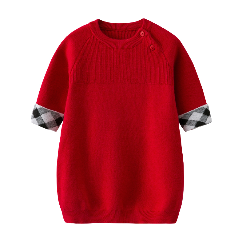 Little Girls Christmas Dress Girls Winter Knit Sweater Dresses Baby Girls' Long-Sleeved Knit Red Dress Winter baby Clothes цена