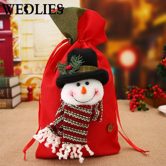 Christmas Gift Bags For Kids.Us 3 99 20 Off Large Christmas Gift Bag Santa Claus Snowman Bags Kids Candy Chocolate Holder Christmas Tree Ornaments Party Decoration Supplies In