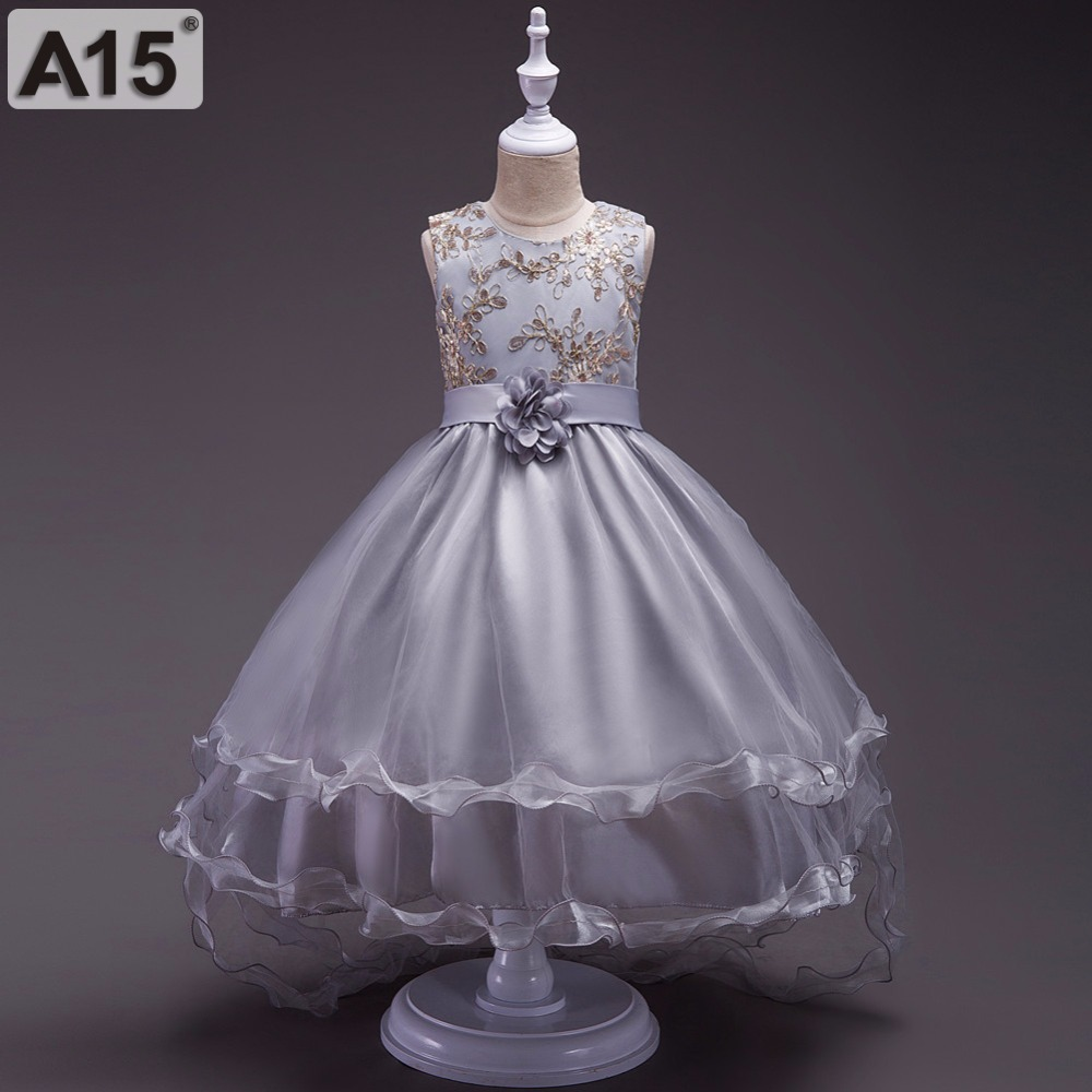 A15 Summer Children Dresses for Girls Kids Formal Wear Princess Dress for Girl 4 6 8 10 12 Year Birthday Party Events Prom Dress summer 2017 new girl dress baby princess dresses flower girls dresses for party and wedding kids children clothing 4 6 8 10 year
