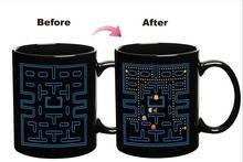 1pc Video game pac Coffee Mug change Colour Changing Heat Sensitive Ceramic  Surprise Gaming Gifts Magic Tea Cup Mugs cats pet