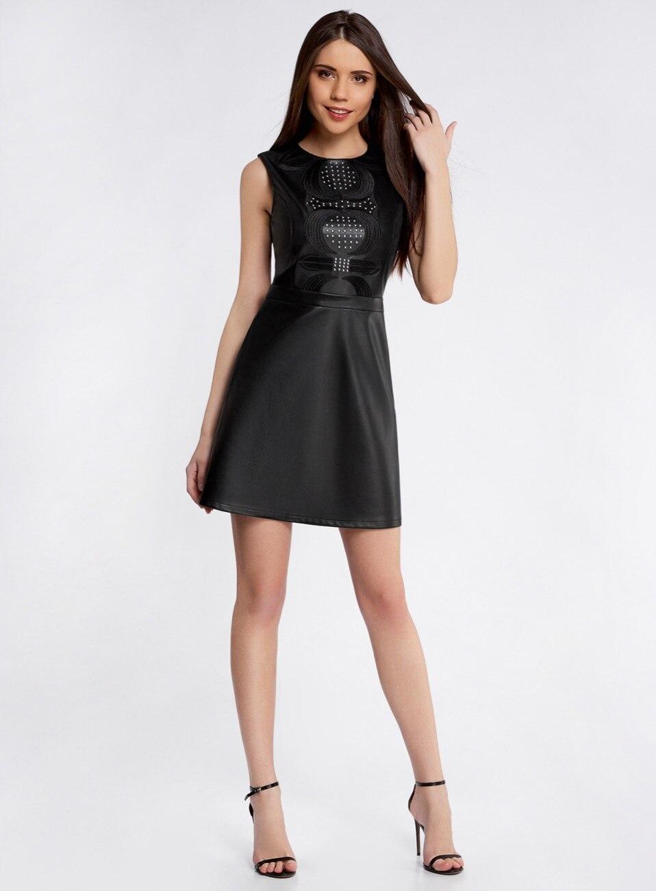 Кожаное черное платье фото