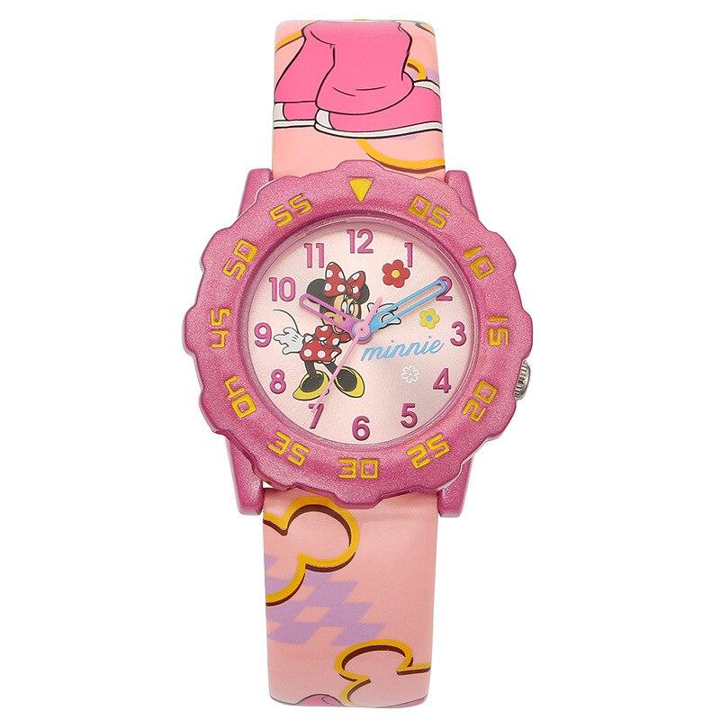 Disney brand fashion children girls Minnie mouse cartoon watches leather quartz pink purple students number waterproof clocks