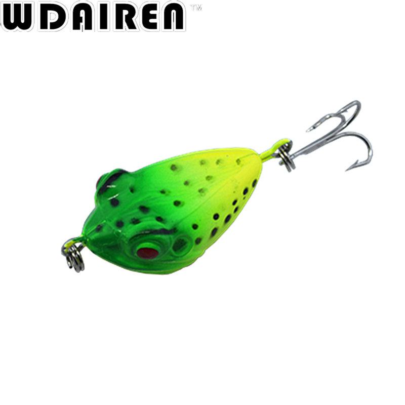 все цены на WDAIREN Good quality 1pcs frog bait Topwater Bass 4cm 6g fishing lure 3d eyes with treble hooks crankbait wobblers Tackle WD448 онлайн