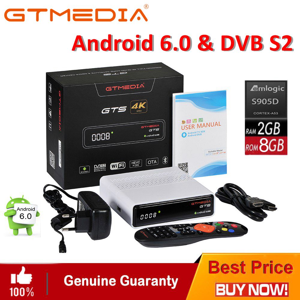 GTmedia GTS Android 6.0 Satellite Receiver 4K TV BOX Combo DVB-S2 Built In WiFi Bluetooth 4.0 Smart Set Top Box with CCCAM IPTV mecool all in one 4k 3g ram android 7 1 dvb t2 terrestrial dvb s2 satellite tv tuner combo bluetooth wifi cccam biss smart box