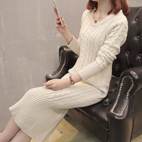 Women 2018 Autumn Winter Long Sleeve Sheath Pullovers Warm Elastic Knitted Sweater Dress Female Sexy Slim Bodycon Dresses L67
