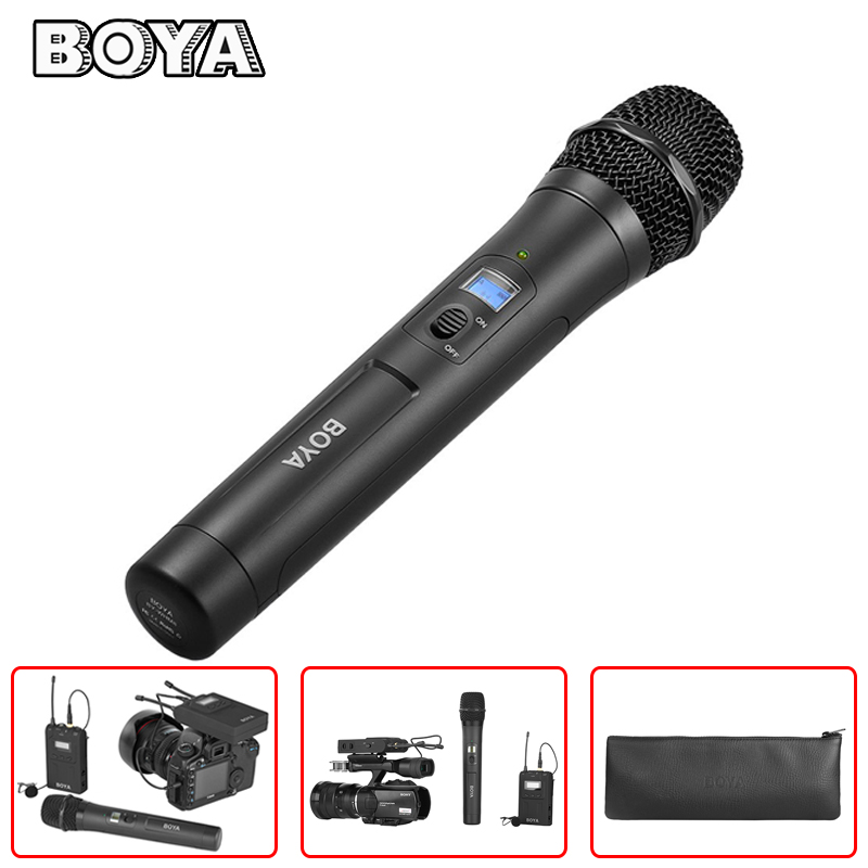 BOYA BY-WHM8 Handheld Microphone 48 UHF Transmission Channels for BY-WM8 BY-WM6 Receiver BY-WM8R BY-WM6R Wireless Mic System boya by wm6 uhf wireless acoustic transmission system microphone tour guiding simultaneous translation audio visual eduation