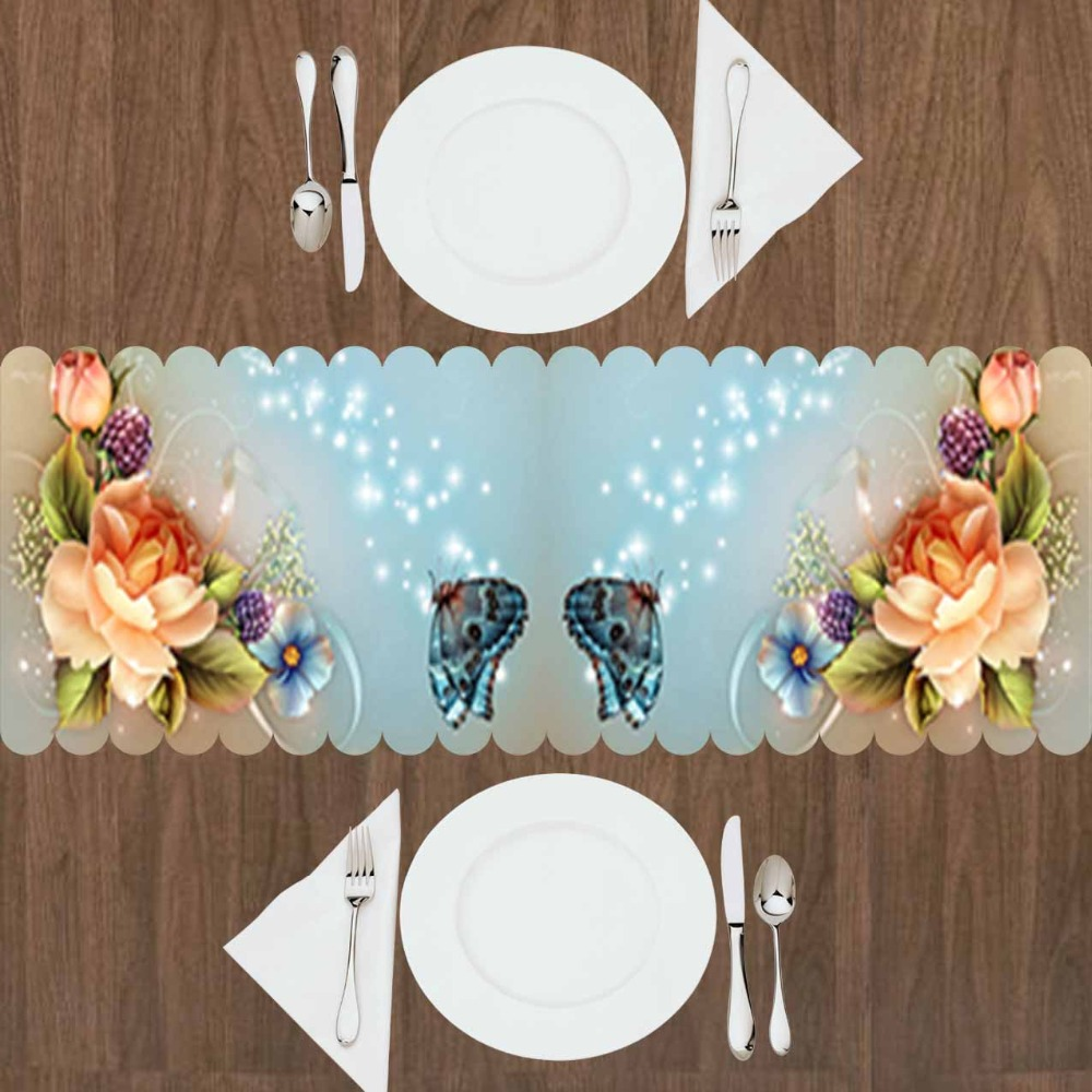 Else Yellow Orange Roses Green Leaves Blue Butterfly 3d Print Pattern Modern Table Runner  For Kitchen Dining Room Tablecloth