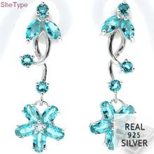 SheType 5.2g Elegant Rich Blue Aquamarine Gift Girls 925 Solid Sterling Silver Earrings 35x12mm