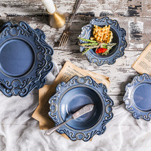 1set Baroque relief Ceramic Western Deep Plate Salad Pastal Dishes Food Tableware Creative Blue And White Hat Plates