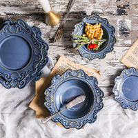 1set Baroque relief Ceramic Western Deep Plate Salad Pastal Dishes Western Food Tableware Creative Blue And White Hat Plates