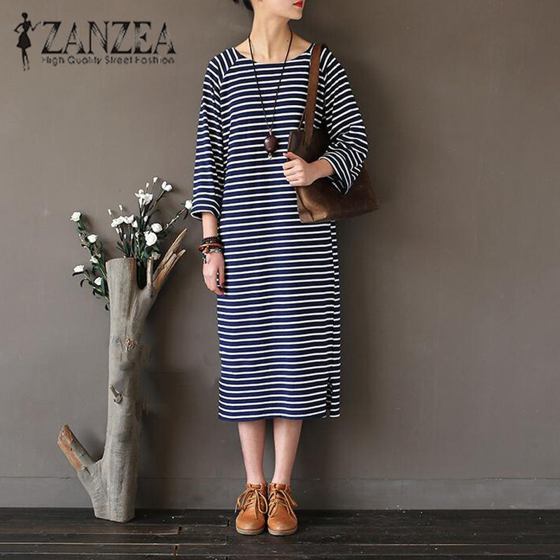 Plus Size 2017 ZANZEA Autumn Women Striped O Neck Long Sleeve Midi Dress Retro Party Split