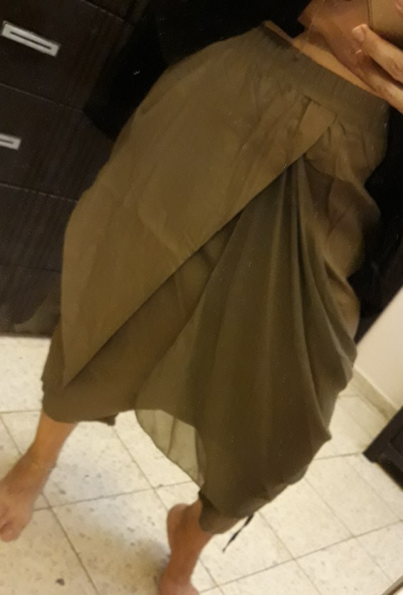 New Spring High Elastic Waist Black Fold Bandage Stitch Loose Long Cross Pants Women Trousers Fashion photo review