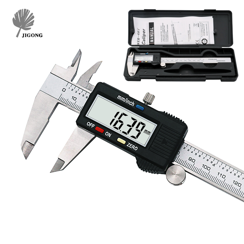 Electronic Digital Vernier Caliper 150mm Stainless Steel Rule Gauge Micrometer 6 Inch LCD Measuring Ruler Tool With Plastic Box 2pcs dual side stainless steel measuring straight ruler 300mm 12 inch