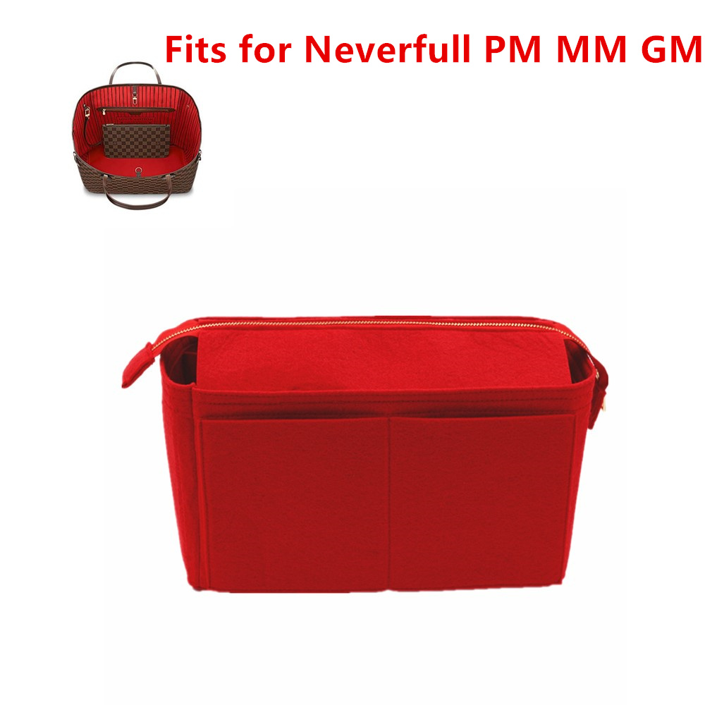 Fits For Never Full PM MM GM Felt Cloth With Zippercover Insert Bag Organizer Make Up  Travel Inner Purse Portable Mommy  Bag
