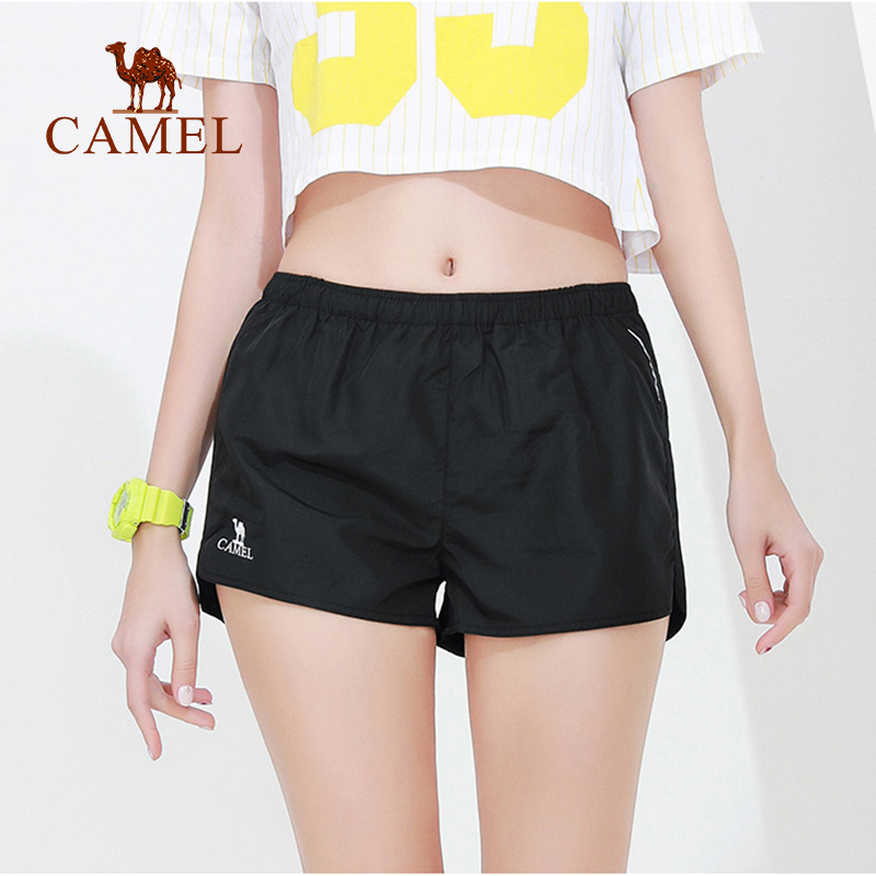 CAMEL Sport Yoga Shorts Women Gym Fitness Running Workout  Polyester Push Hips High Elastic Waist Outfit