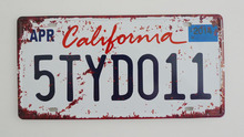 1 pc California tin sign plate US American car license plaques man cave garage