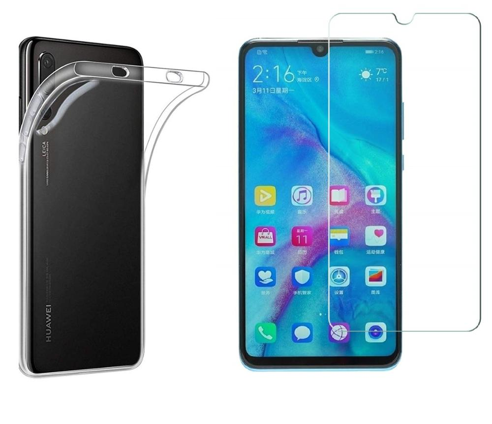 Stand case + Protetor de Tela de Vidro para Huawei P30 P30 Lite Caso Claro Silicone Gel TPU & Vidro Temperado