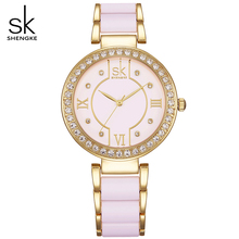 SK Women New Gold Simulated ceramics Design Bracelet Fashion Style Watches Women's Quartz Colck Watch Ladies Quartz-Wristwatches