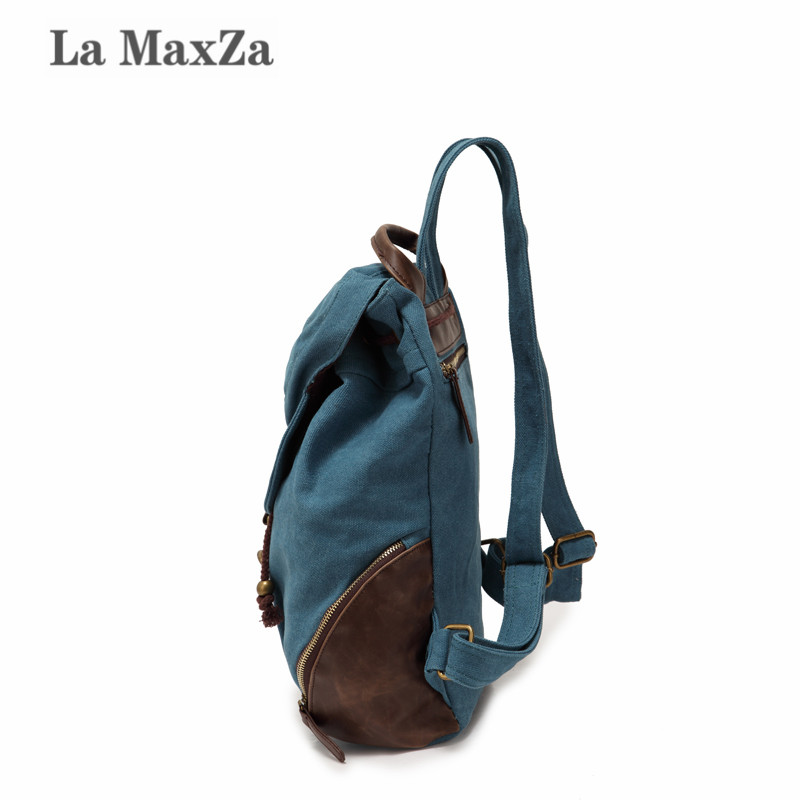 La MaxZa Man's Canvas Backpack Travel Schoolbag Male Backpack Men Large Capacity Rucksack Shoulder School Bag edgy trendy casual canvas backpack men large capacity simple backpack fashion hook buckle travel bag durable rucksack