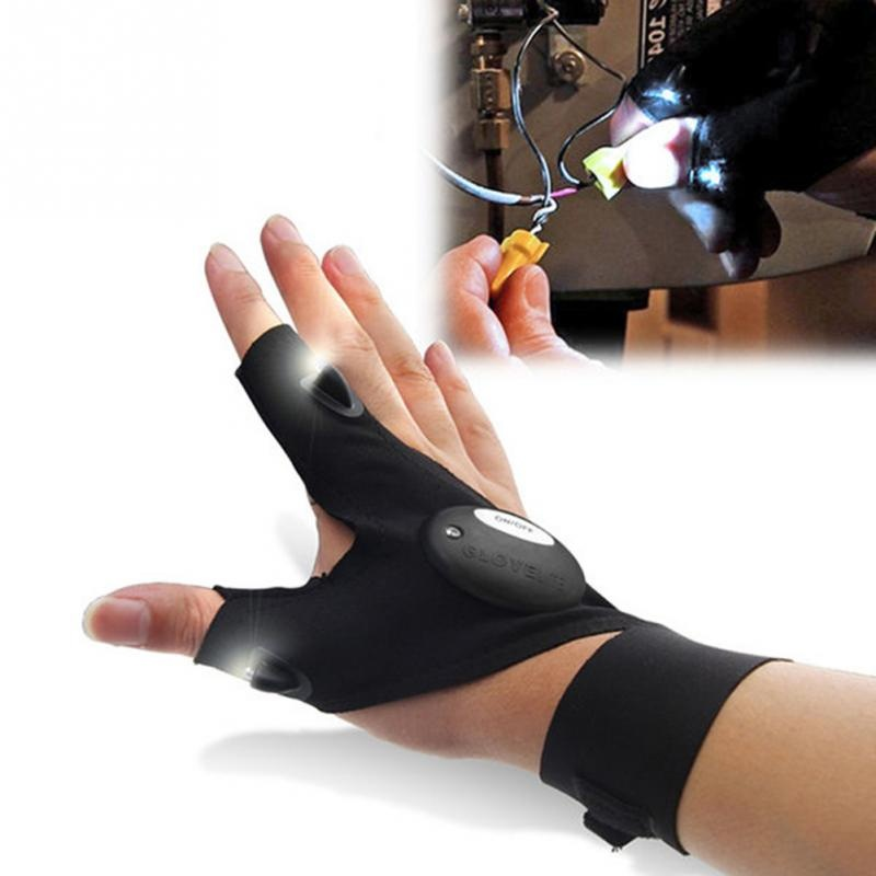 Fishing Magic Strap Fingerless Gloves Outdoor Tool Flashlight Torch Cover Survival Camping Tools Left Right Hand LED Gloves