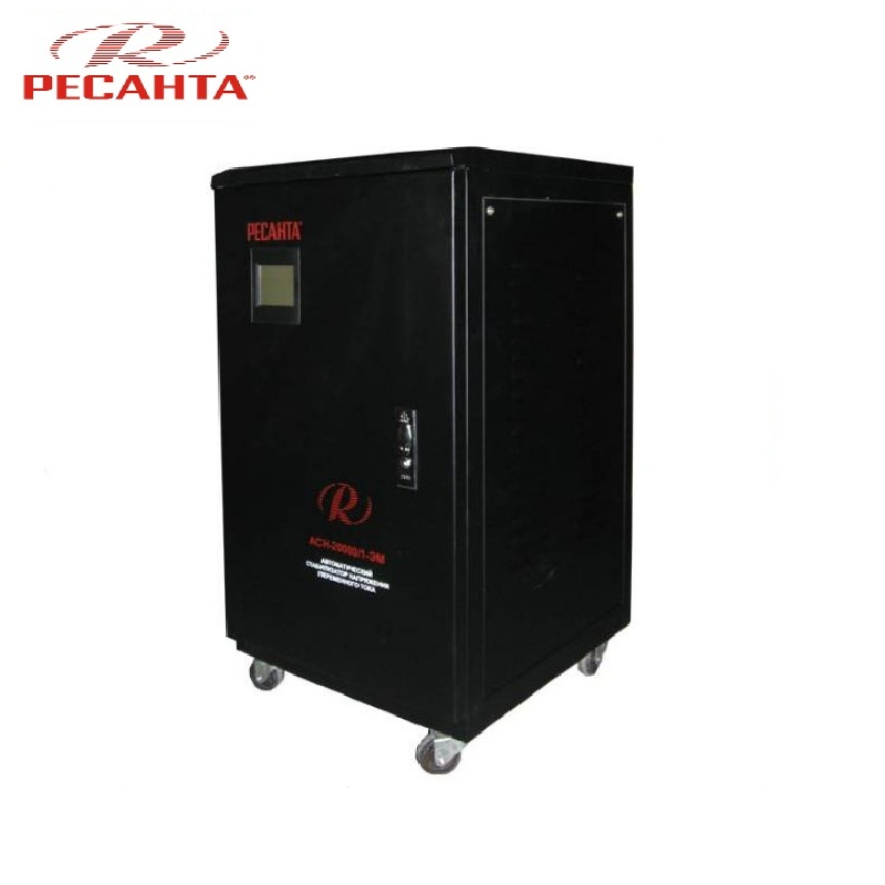 Single phase voltage stabilizer RESANTA ASN 20000/1-EM Voltage regulator Monophase Mains stabilizer Surge protect Power stab single phase voltage stabilizer resanta asn 500 1 em voltage regulator monophase mains stabilizer surge protect power stab