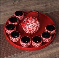 Chinese traditional red ceramic tea set suit creative wedding supplies tea cup pot tray newlywed gift