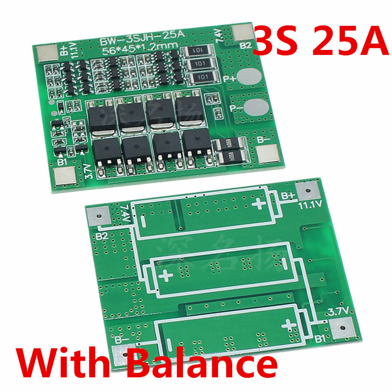 3S 25A 12V Lithium Battery Protection Board electric tools sprayer balanced circuit For Ternary/Cobalt acid/Lithium manganes