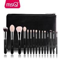 MSQ 15pcs Professional Makeup Brushes Set Powder Eyeshadow Blending Make Up Brushes High Quality PU Leather