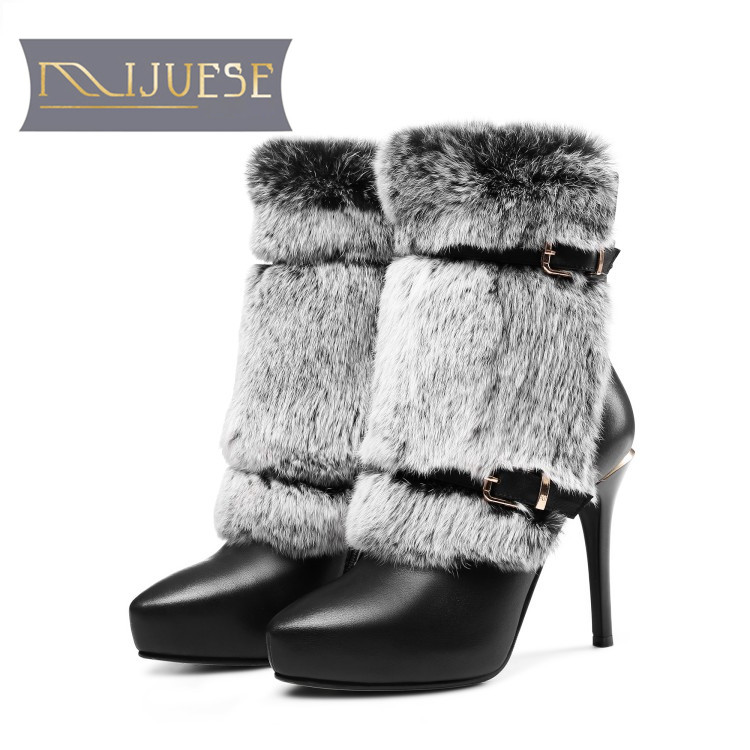 MLJUESE 2018 women ankle boots cow leather rabbit hair buckle strap platform winter boots short plush white color snow boots