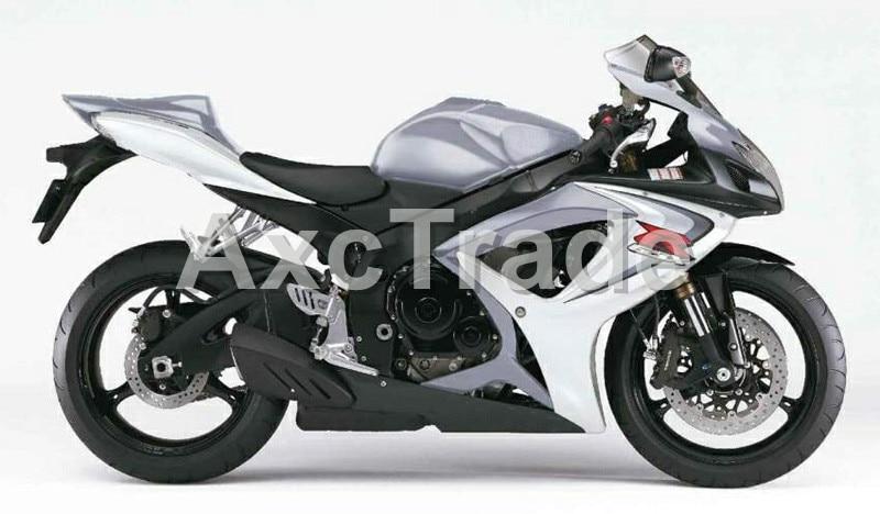 Мотоцикл Обтекатели для Suzuki GSXR системы GSX-Р инъекций 600 750 GSXR600 GSXR750 2006 2007 К6 ABS обтекатель кузова комплект серебро Белый